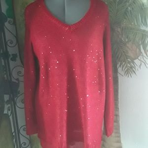 Faded Glory Sparkly Red Sweater (2X) 18-20W